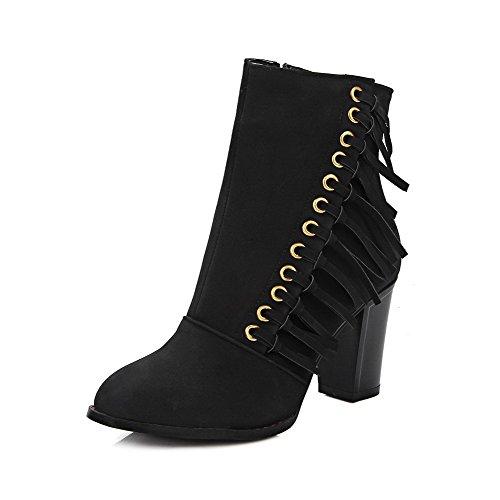 Amoonyfashion Mujeres Low Top Zipper Frosted High Heels Round Botas Con Punta Cerrada Negro