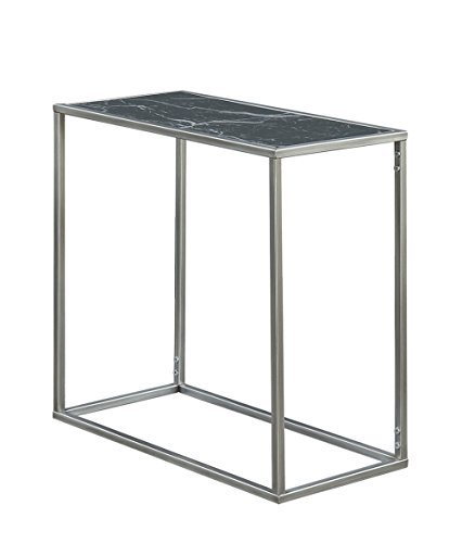 (Convenience Concepts Gold Coast Faux Marble Chairside Table, Black Faux Marble / Silver)