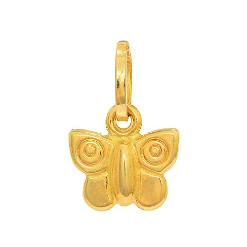 - JewelStop 14K Yellow Italian Gold Puffed Shiny Butterfly 3D Charm Pendant