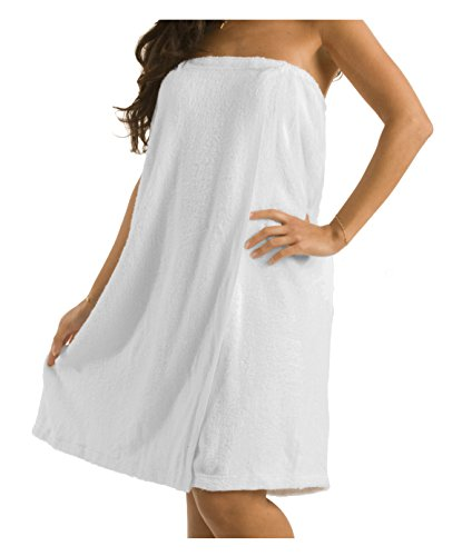 robesale Terry Bath Wrap for Ladies, Spa Wrap for Women, White, One Size ()