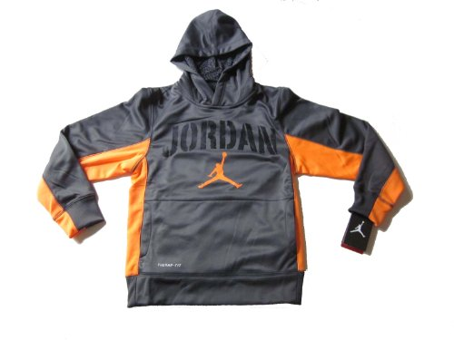 - Nike Air Jordan Boys Therma Fit Hoodie Sweater Dark Grey Orange (L)