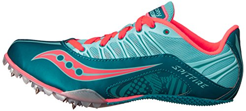 Saucony Women's Spitfire Spike Shoe, Teal/Coral, 7 M US by Saucony (Image #5)