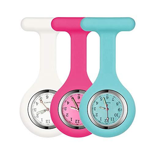 alladaga Set of 3 Nurse Watch Brooch-Pink Rose Blue(FL_WT0011_WT0013_1)