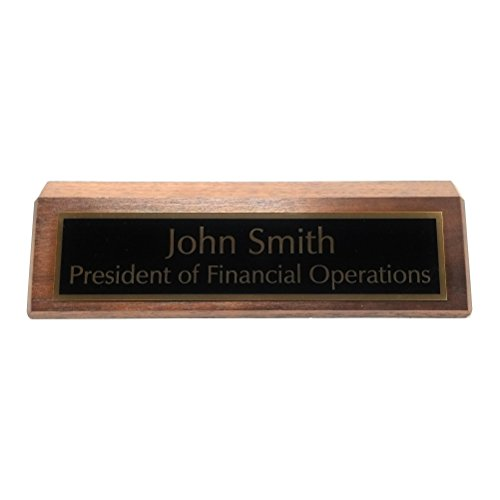 Personalized Business Desk Nameplate, Genuine Solid Walnut, 2