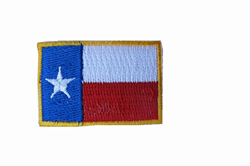 Texas State Flag Patch Embroidery Iron On Lone Star Gold Border Small