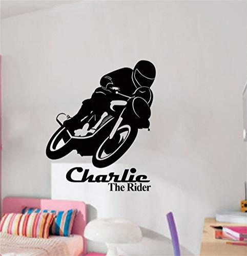 kuines Wall Stickers Art DIY Removable Mural Room Decor Mural Vinyl Boy Love Motor Bike Race Personal Name for Living Room Boy -