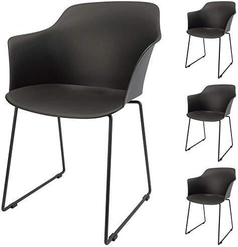 wei/ß ohne Polsterung stabile Kunststoffschale Designerstuhl mit Metall Kufenfu/ß Cepewa Esszimmerstuhl 4er Set Stuhl mit Armlehnen