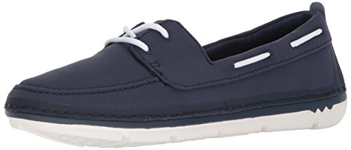 Clarks Womens Step Maro Sand Boat Shoe, Navy Textile, 8 Medium US
