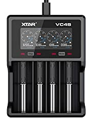 XTAR VC4S QC3.0 Fast Charging Max 3A Four Slot Battery Charger with Colorful LCD Screen Real Time Charging Status