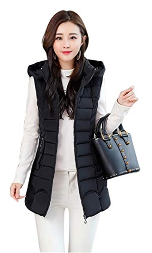Down Vest Sleeveless Puffer Packable Hooded Women's TTYLLMAO Black YO6RqwI6x