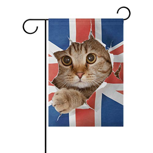 WIHVE Polyester Garden Flag, Cat Hole in Britain Flag Double Sided Holiday Flag for Party Home Outdoor Decoration 12 x 18 -