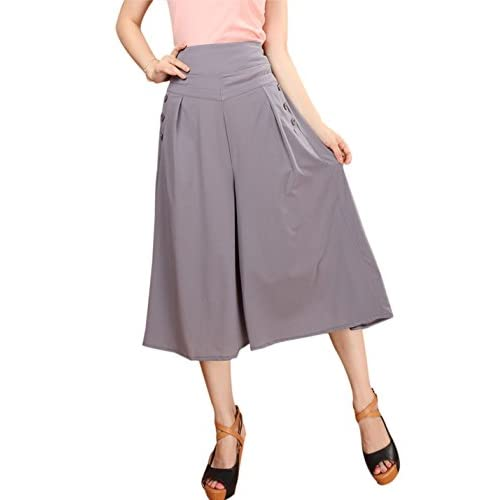 2b35e53b666d2 chic Gihuo Women s Comfy Modal Elastic Waist Wide Leg Flowy Cropped Palazzo  Culotte Pants with Pockets