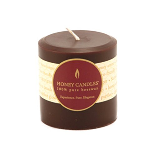 Honey Candles Pure Beeswax Pillar 3 Dark Brown (Unity Oil Glass Candle)