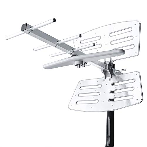 【2019 Newest】 Outdoor TV Antenna, Amplified Digital HDTV Antenna with Mounting Pole, 150+ Miles Range, Support 2 TVs, Amplifier Signal Booster, 33 FT Coax Cable
