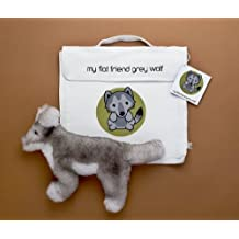Flat Friends GWOLLC Grey Wolf Soft Plush Toy And Carry Bag