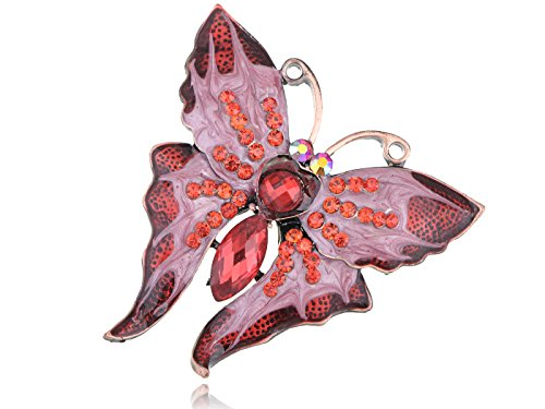 Alilang Dazzling Romantic Ruby Red Crystal Rhinestone Butterfly Enamel Paint Fashion Brooch Pin
