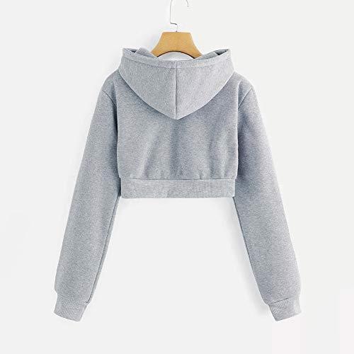 Couleur À Femmes Capuche Pure Gris Longues Manches Sweat Tops Sweatshirts Casual Aimee7 g04q55