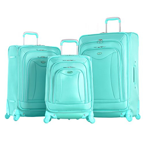 Olympia Luxe 3 Piece Expandable Spinner Set, Mint