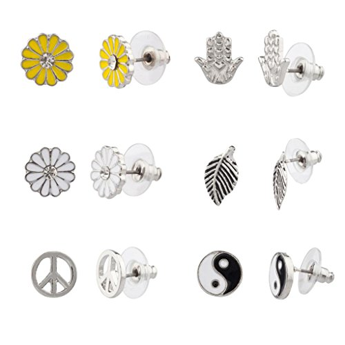 Lux Accessories Hamsa Yin Yang Leaf Sunflower Peace Sign Floral Flower Stud Earrings - Floral Peace Sign