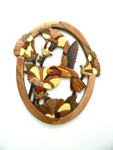 Hummingbird Trumpet Flower Intarsia Wood Wall Art Home Decor Plaque ()