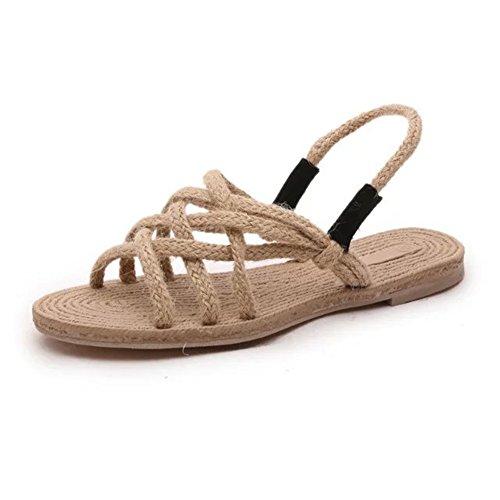 Etaclover Women's Braided Rope Flat Sandals Summer Casual Beach Shoes Hand-Woven Slingback
