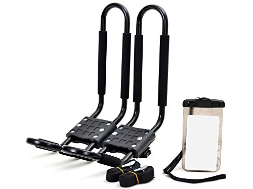 TMS J-Bar Rack HD Kayak Carrier Canoe Boat Surf Ski Roof Top Mounted on Car SUV Crossbar w/Free Cell Phone Case by TMS