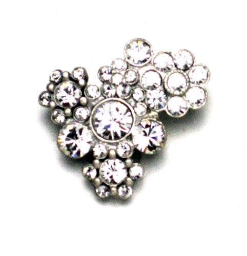 PILGRIM 342-005 Brosche, versilbert, kristall