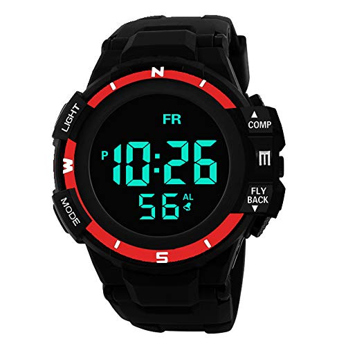 (Sport Watch, 50M Waterproof Watch, Sport Wrist Watch for Men Women Kids, Digital Watch with Alarm Date and Time (Red))