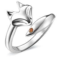 JEWME 925 Sterling Silver Women Fox Tail Rings Fine Jewelry Open Zirconia