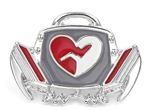 """FTH ICU,Emergency Room, Cardiology Heart Enamel Defibrillator 1"""" Pin Brooch is Silver Plated with Butterfly Rear Clutch.Perfect for EMS,RN,LPN,& MD.Nice for Your ID Badge or Lapel"""