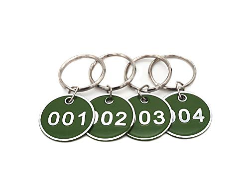 Aluminum Alloy Metal Key Tag Set, Number ID Tags Key Chain, Numbered Key Rings, 50 Pieces - Green -1 to 50 ()