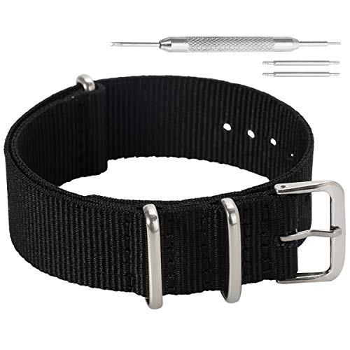 12mm Black Classic Fashion NATO Style Ballistic Nylon Watch Band Strap Replacement for ()