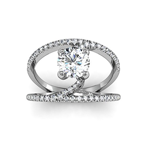 AGS Certified 1 1/2 Carat Total Weight Open Band Round Shape Diamond Engagement Ring With 1ct Center In 14 Karat White Gold