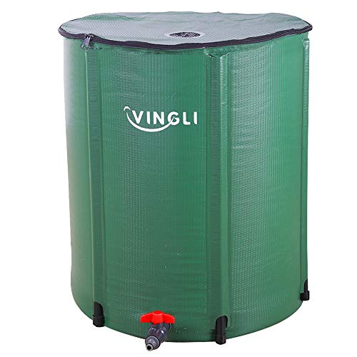 VINGLI 50 Gallon Collapsible Rain Barrel, Portable Water Storage Tank, Rainwater Collection System Downspout, Water Catcher Container with Filter Spigot Overflow - Rain Round Barrel