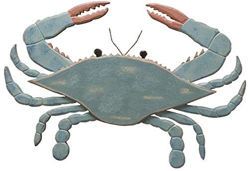Fish Crab - Primitives by Kathy Shaped Wooden Wall Art, 16.75 x 11.5-Inches, Blue Crab