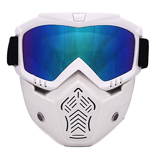 Unisex Gafas de esqui - TININNA Mascara y Gafas de Ski para el adulto Hombre y Mujer Espejo Anti-vaho Antiniebla Gafas para Esquiar y Deportes al Aire Libre-Marco blanco mate, lente color