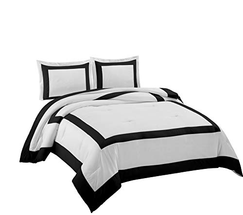 Border Bedding - Chezmoi Collection Carlton 3-Piece Hotel Style Square Framed Bedding Comforter Set (Queen, White/Black)