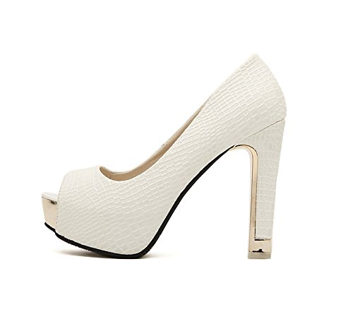 HGTYU-New 12Cm Super Heel Single Shoe Autumn Waterproof Platform Shallow Mouth High Heel Heel Heel White 2pUJGy