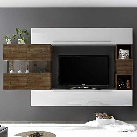 NOUVOMEUBLE ALCAMO - Pared de TV Moderna, Color Blanco y Madera Oscura: Amazon.es: Hogar