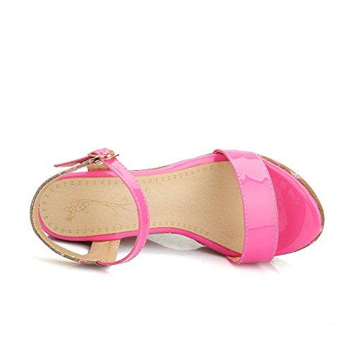 AgooLar Mujeres Material Suave Hebilla Puntera Abierta Plataforma Sólido Sandalia Rosa