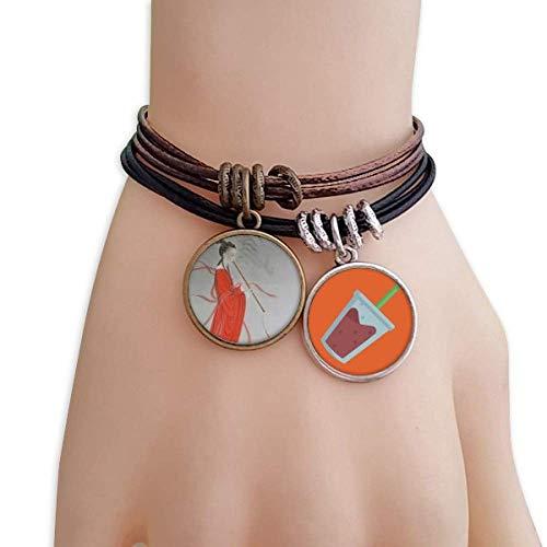 (DIYthinker Flute Red Beauty Chinese Painting Bracelet Rope Juice Wristband)