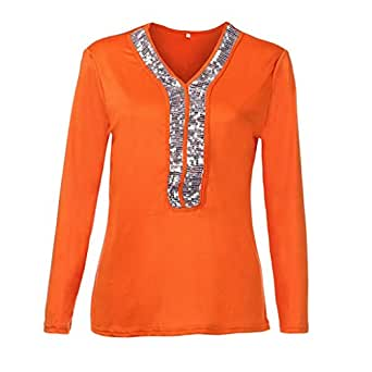 7609adee7c0 URIBAKE Fashion Womens Casual Sexy Sequins Long Sleeve V-Neck Tops Casual  Ladies  Blouse