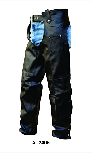 (Unisex Traditional Lined Split Cowhide Motorcycle chaps)