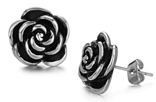 Fekkai Retro Simple Women's Earrings Classical Black Rose Flower Titanium Steel Stud Earring Anti-Allergy (Fekkai Rose)
