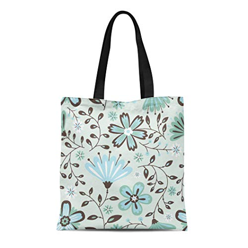 Semtomn Canvas Tote Bag Shoulder Bags Pattern Green Summer Floral Grey Abstract Blossom Classic Clip Women's Handle Shoulder Tote Shopper Handbag ()