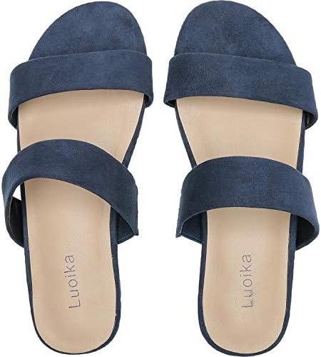 Luoika Women's Wide Width Slide Sandals Slip On Low Heel