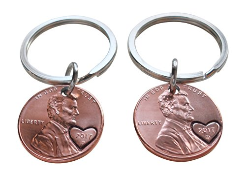 Double Keychain Set 2017 Penny Keychains with Heart Around Year, Hand Stamped Couples Keychain