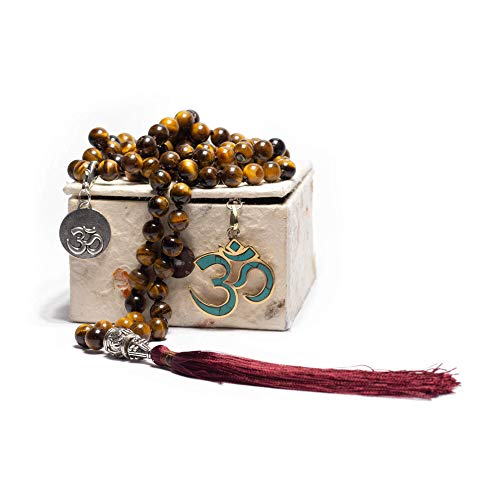 (Premium Handmade Tigers Eye 108 Mala Beads Necklace - Comes With Detachable Pendant & Charm, Cotton Bag & Gift Box - Buddha/Tassel/Bracelet/Japa Mala/Meditation/Yoga/Spiritual/Hand Knotted Necklace )