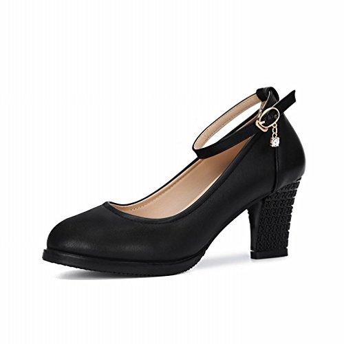 BYLE Sandalias de Cuero Tobillo Modern Jazz Samba Zapatos de Baile Zapatos de Baile Cuadrados bajo para Ayudar a los Zapatos de Mujer Casual Negro 35