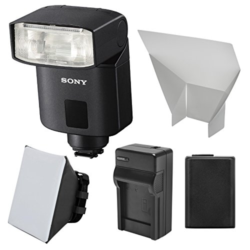 Sony Alpha HVL-F32M Flash with NP-FW50 Battery + Charger + Soft Box + Bounce Diffuser + Kit for Alpha A3000, A6000, A7, A7R, A7S & NEX-6 Cameras (Sony Mi Flash)